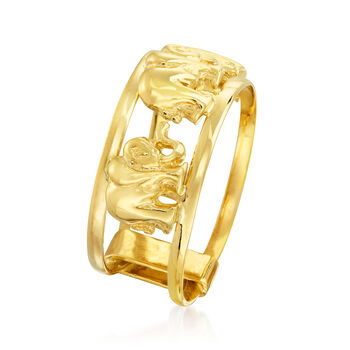 14kt Yellow Gold Elephant Ring, , default