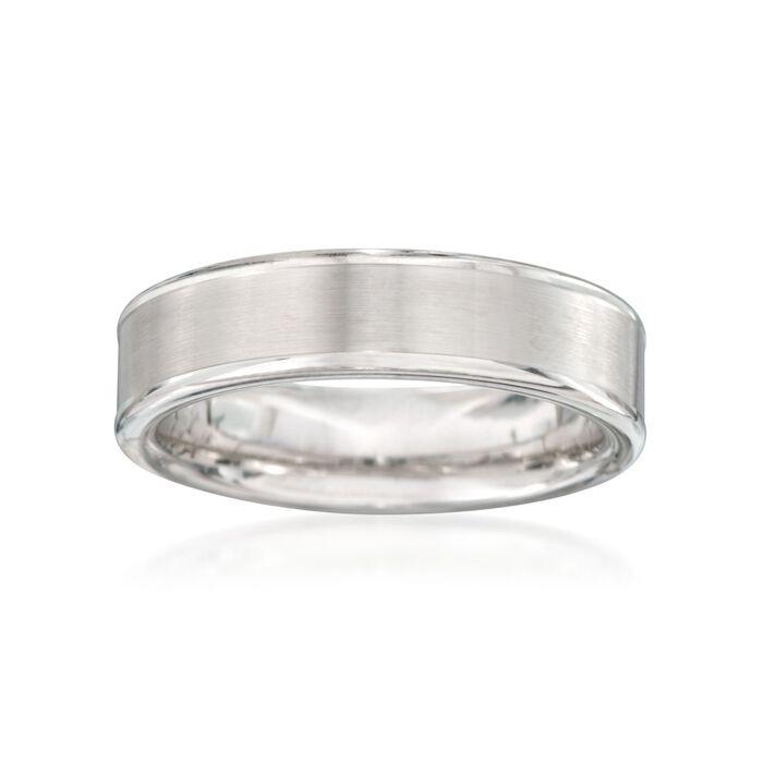Men's 6mm White Tungsten Carbide Wedding Ring. Size 10, , default