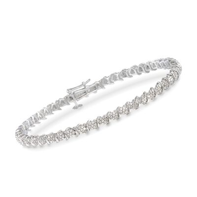 1.00 ct. t.w. Diamond Cluster Tennis Bracelet in Sterling Silver, , default