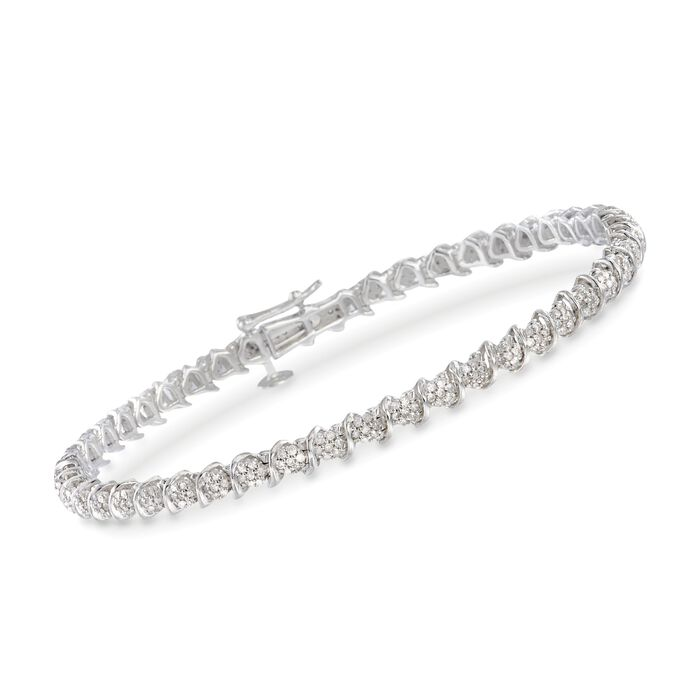 1.00 ct. t.w. Diamond Cluster Tennis Bracelet in Sterling Silver