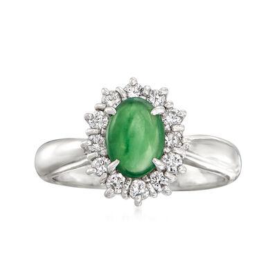C. 1980 Vintage .85 Carat Nephrite and .33 ct. t.w. Diamond Ring in Platinum