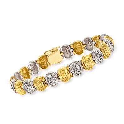 C. 1980 Vintage 1.05 ct. t.w. Diamond Oval-Link Bracelet in 14kt Yellow Gold