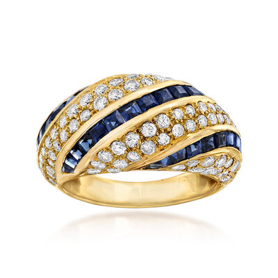 C. 1980 Vintage 2.15 ct. t.w. Sapphire and 1.54 ct. t.w. Diamond Ring in 18kt Yellow Gold, , default