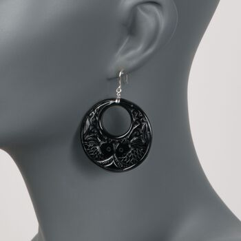 """Carved Black Agate Sealife Hoop Earrings With White Topaz Accents in Sterling Silver. 2 1/4"""", , default"""