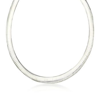 Italian 8mm Sterling Silver Omega Necklace, , default
