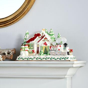 Lenox Porcelain Santa and Train Holiday Musical Mantel Piece, , default