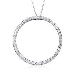 "Roberto Coin 1.03 ct. t.w. Diamond Open Circle Necklace in 18kt White Gold. 16"", , default"