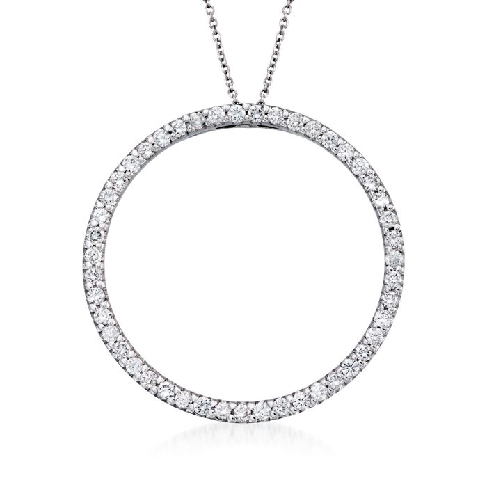 """Roberto Coin 1.03 ct. t.w. Diamond Open Circle Necklace in 18kt White Gold. 16"""", , default"""