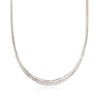 Italian Sterling Silver Graduated Cuban-Link Necklace, , default