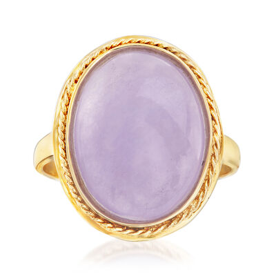 Purple Jade Ring in 14kt Yellow Gold