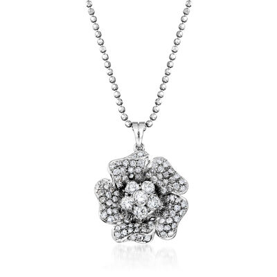 C. 1990 Vintage 2.00 ct. t.w. Diamond Flower Pendant Necklace in 18kt White Gold, , default