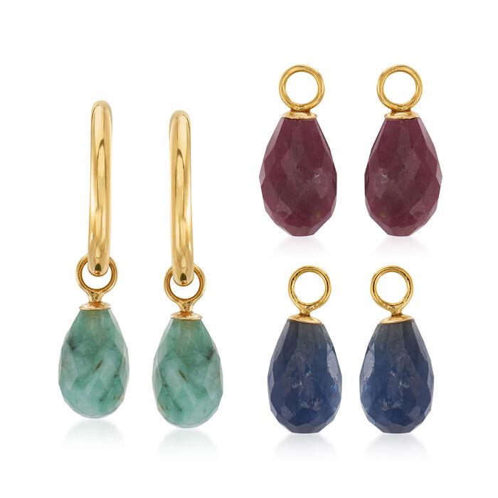 """11.30 ct. t.w. Multi-Gemstone Interchangeable C-Hoop Earrings in 14kt Yellow Gold. 3/4"""""""