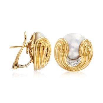 C. 1980 Vintage Wempe 16mm Mabe Pearl and .10 ct. t.w. Diamond Earrings in 18kt Yellow Gold , , default
