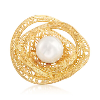 Italian 9.5-10mm Cultured Pearl and 18kt Gold Over Sterling Openwork Ring, , default
