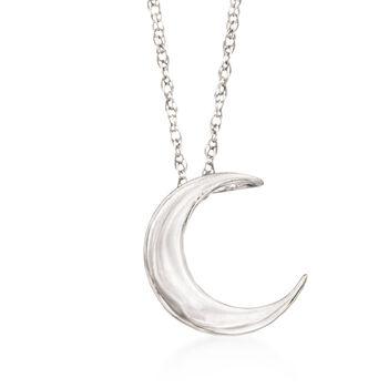 "Sterling Silver Crescent Moon Pendant Necklace. 18"", , default"
