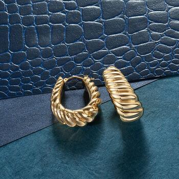 """Italian Andiamo 14kt Yellow Gold Ribbed Hoop Earrings. 1"""""""