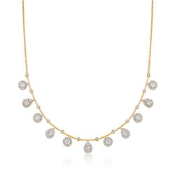 2.05 ct. t.w. Diamond Circle and Pear-Shaped Drop Necklace in 14kt Yellow Gold, , default