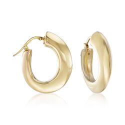 """Italian 14kt Yellow Gold Wide Hoop Earrings. 1"""", , default"""