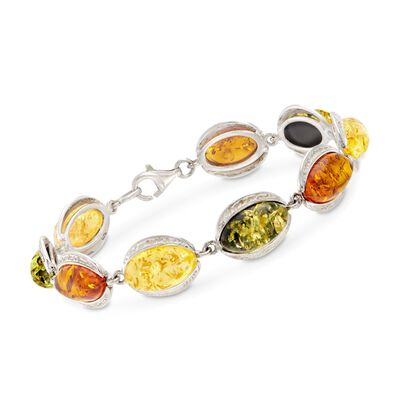 Multicolored Amber Marquise Cabochon Line Bracelet in Sterling Silver, , default