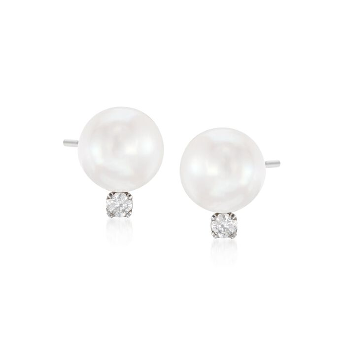 7-7.5mm Cultured Akoya Pearl and .10 ct. t.w. Diamond Earrings in 14kt White Gold, , default