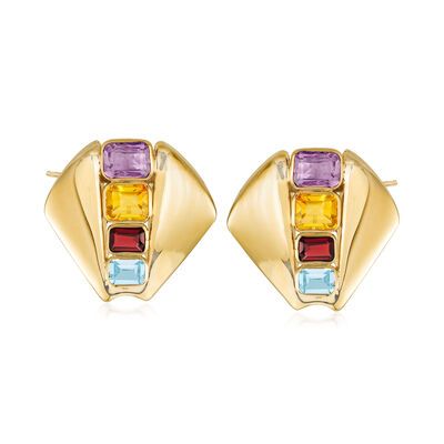 C. 1980 Vintage 10.20 ct. t.w. Multi-Gemstone Fan Earrings in 14kt Yellow Gold, , default
