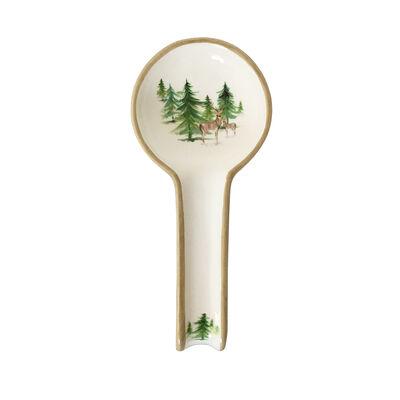 """Abbiamo Tutto Italian """"Woodlands"""" Ceramic Spoon Rest"""