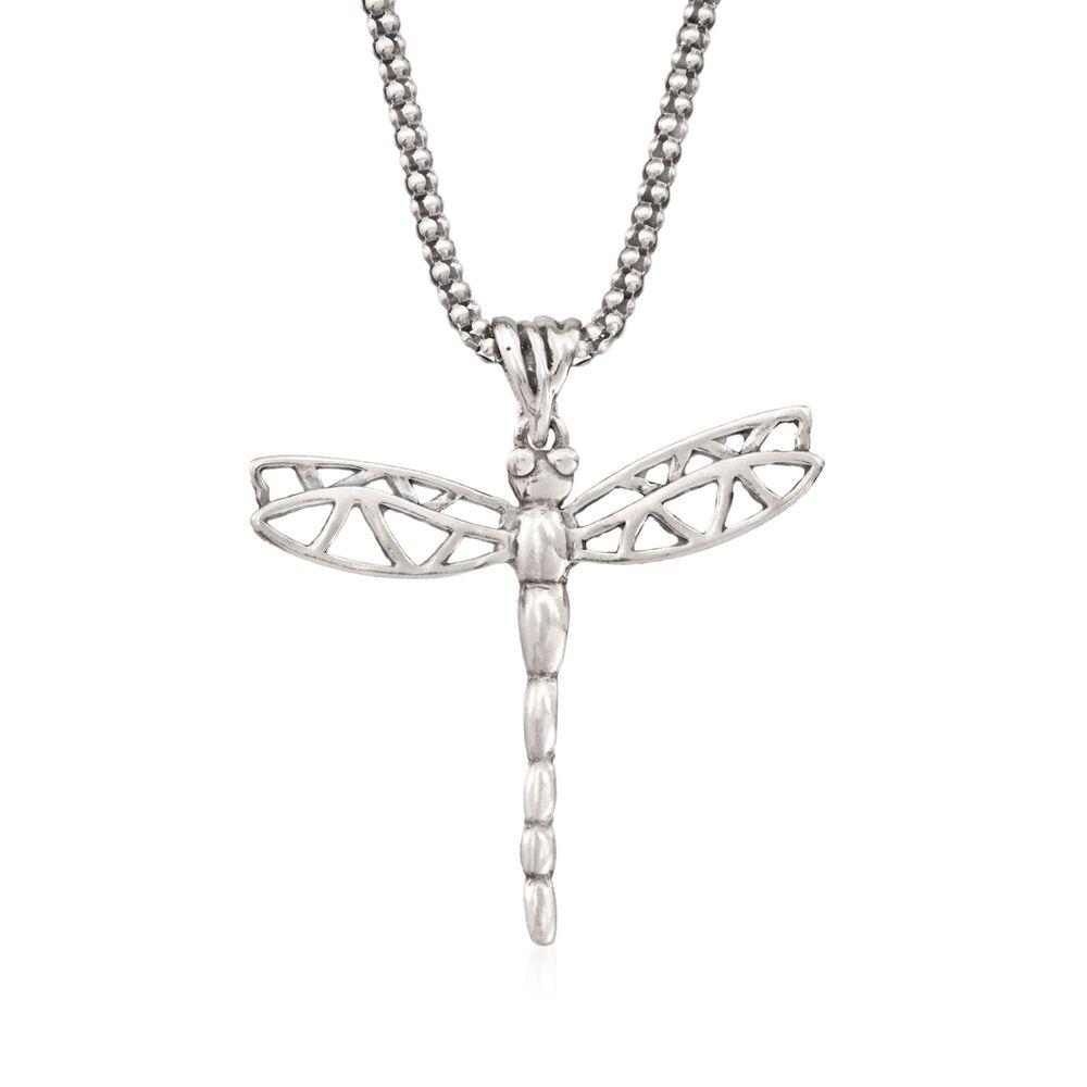 "1d1158525 Sterling Silver Dragonfly Pendant Necklace. 18"", , default"