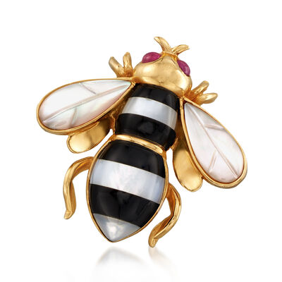 C. 1980 Vintage Mother-Of-Pearl and Onyx Bee Pin With Ruby Accents in 14kt Yellow Gold, , default