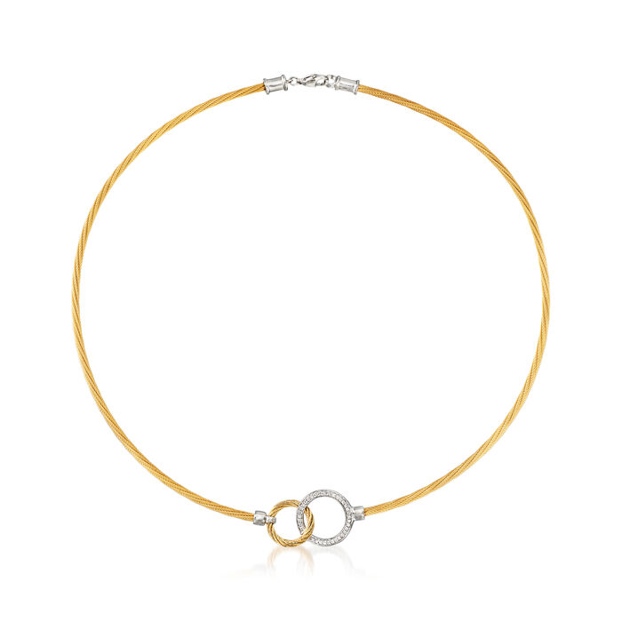 """ALOR Two-Tone """"Classique"""" .19 ct. t.w. Diamond Interlocking Circles Stainless Steel Cable Necklace with 18kt White Gold. 17"""""""