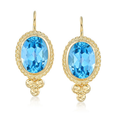 1.60 ct. t.w. Blue Topaz Rope Edge Earrings in 14kt Yellow Gold