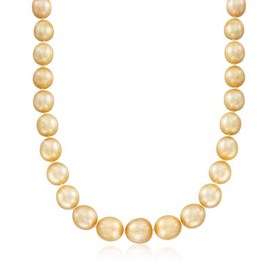 10-13mm Cultured Golden South Sea Pearl Necklace with 14kt Yellow Gold, , default