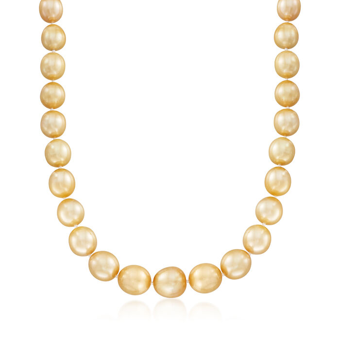 10-13mm Cultured Golden South Sea Pearl Necklace with 14kt Yellow Gold