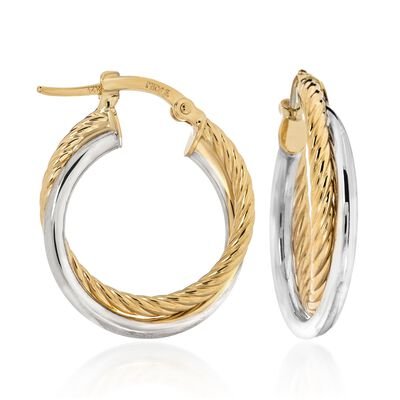 Italian 14kt Two-Tone Gold Roped and Polished Crisscross Hoop Earrings, , default
