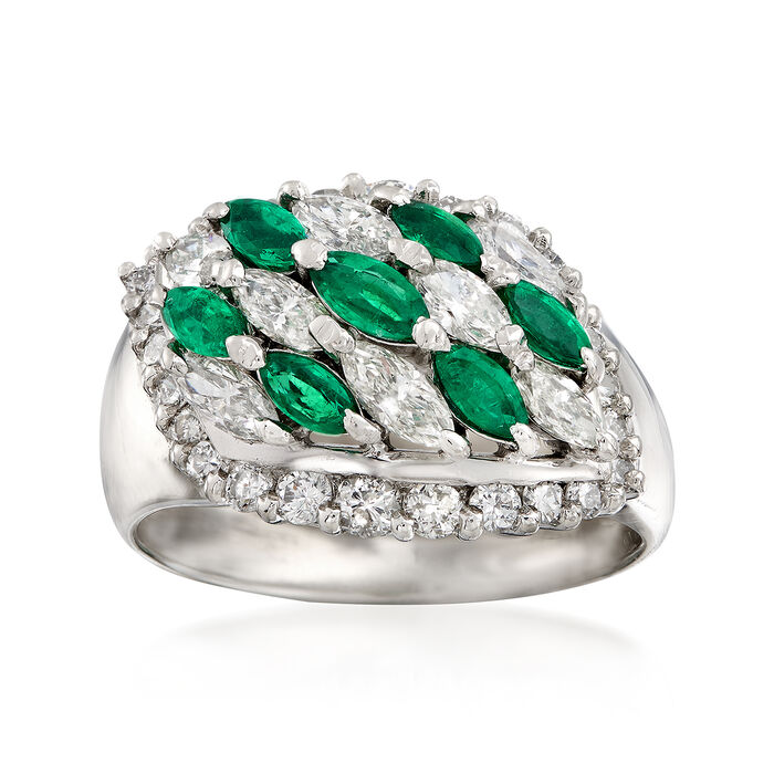 C. 1980 Vintage .71 ct. t.w. Emerald and 1.41 ct. t.w. Diamond Ring in Platinum. Size 7, , default