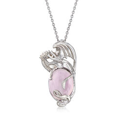 "4.00 Carat Pink Amethyst Dragon Pendant Necklace in Sterling Silver. 18"", , default"