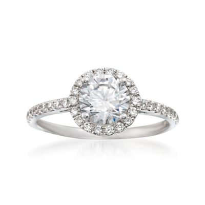Simon G .36 ct. t.w. Diamond Halo Engagement Ring Setting in 18kt White Gold