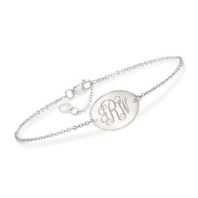 14kt White Gold Personalized Oval Disc Bracelet, , default
