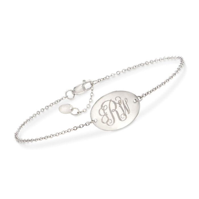 "14kt White Gold Personalized Oval Disc Bracelet. 8"", , default"