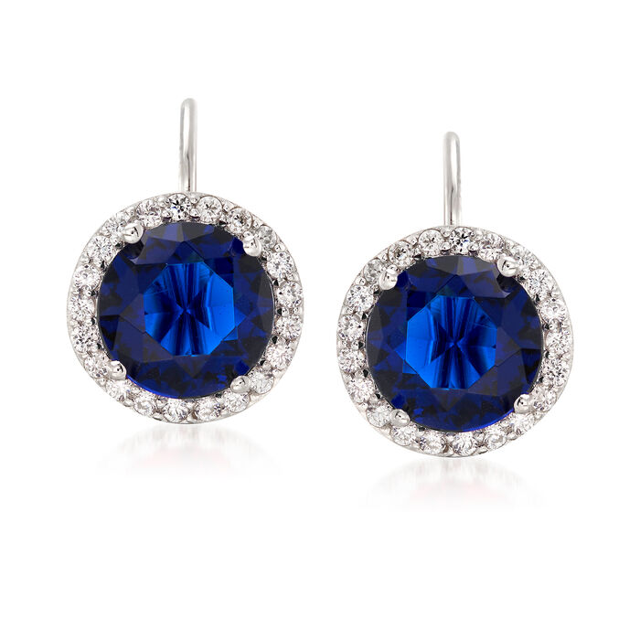 2.71 ct. t.w. Blue and White CZ Halo Earrings in Sterling Silver