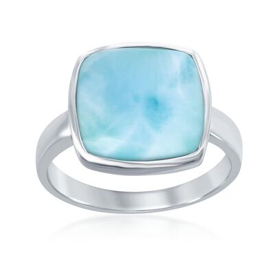 Square Larimar Ring in Sterling Silver, , default