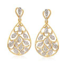 .33 ct. t.w. Diamond Teardrop Earrings in 18kt Yellow Gold Over Sterling Silver, , default