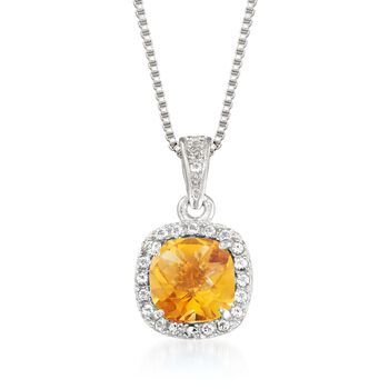 ".80 Carat Citrine and .10 ct. t.w. White Topaz Pendant Necklace Sterling Silver. 18"", , default"