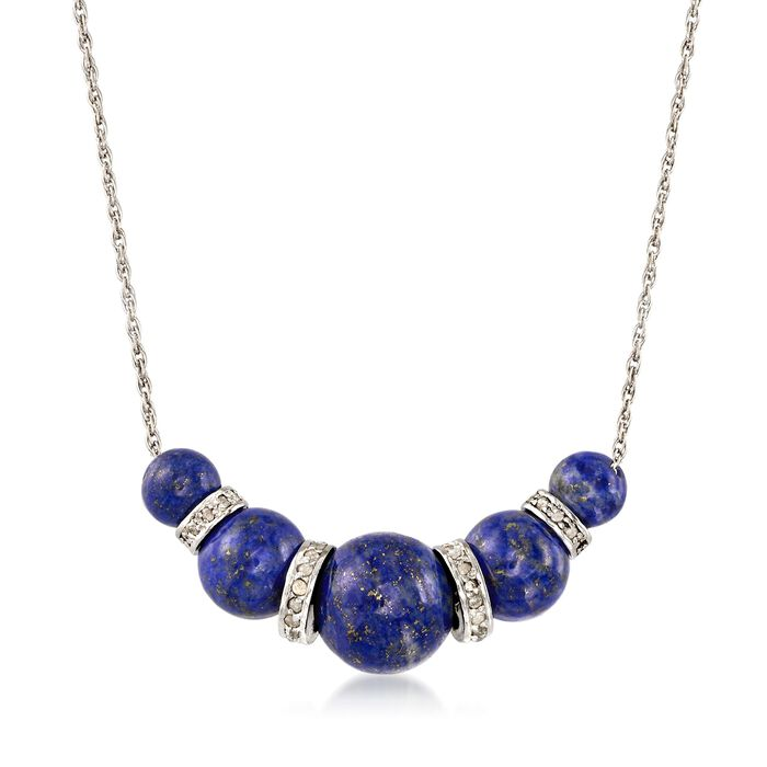 6-10mm Graduated Blue Lapis Bead and .37 ct. t.w. Diamond Spacer Necklace in Sterling Silver