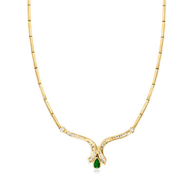 C. 1990 Vintage .50 Carat Emerald and .75 ct. t.w. Diamond Necklace in 14kt Yellow Gold