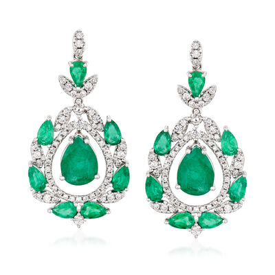 5.70 ct. t.w. Emerald and 1.05 ct. t.w. Diamond Drop Earrings in 18kt White Gold, , default