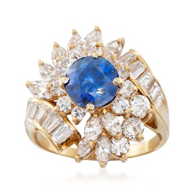 C. 1980 Vintage 1.80 Carat Sapphire and 2.50 ct. t.w. Diamond Ring in 18kt Yellow Gold, , default