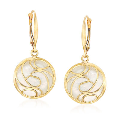 Mother-Of-Pearl Swirl Earrings in 14kt Yellow Gold , , default