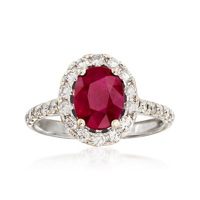 2.20 Carat Ruby and .70 ct. t.w. Diamond Ring in 14kt White Gold, , default