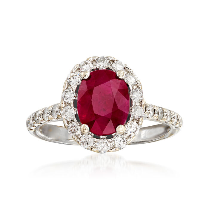 2.20 Carat Ruby and .70 ct. t.w. Diamond Ring in 14kt White Gold. Size 7