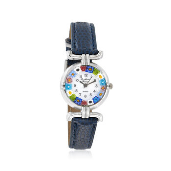 Italian Woman's Floral Multicolored Murano Glass 26mm Stainless Watch With Blue Leather, , default